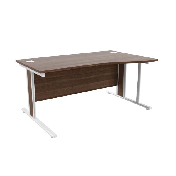 Jemini Walnut/White 1600mm Right Hand Wave Desk