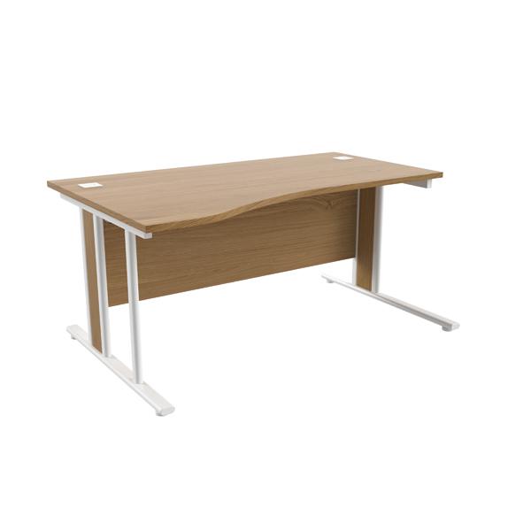 Jemini Oak/White 1600mm Left Hand Wave Desk