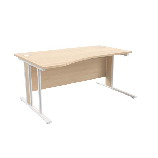 Jemini Maple/White 1600mm Left Hand Wave Desk