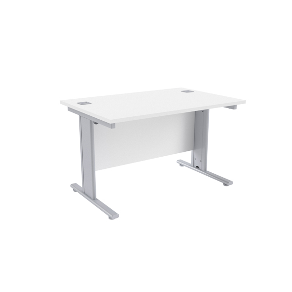 Jemini White/Silver 1200 x 800mm Cantilever Rectangular Desk