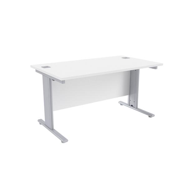 Jemini White/Silver 1400 x 800mm Cantilever Rectangular Desk