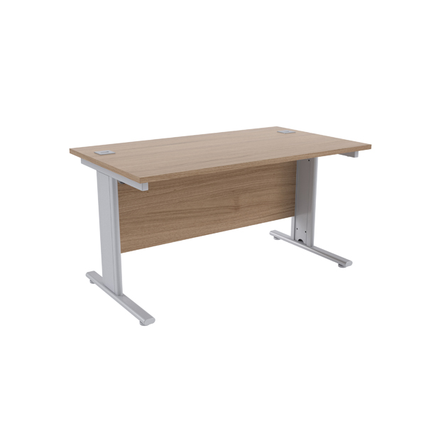 Jemini Grey Oak/Silver 1400 x 800mm Cantilever Rectangular Desk