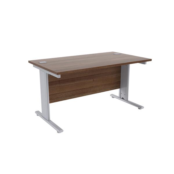 Jemini Walnut/Silver 1400 x 800mm Cantilever Rectangular Desk