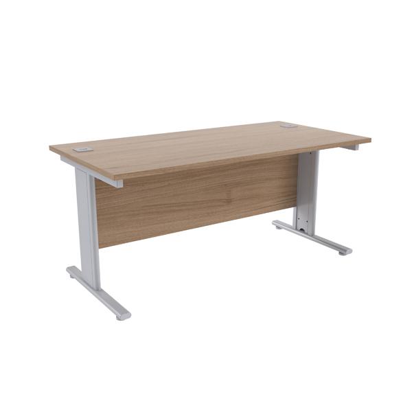 Jemini Grey Oak/Silver 1600 x 800mm Cantilever Rectangular Desk