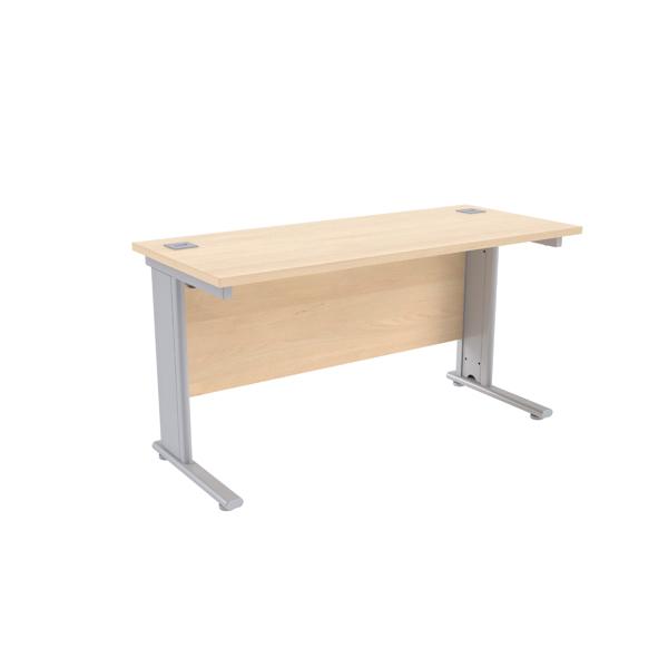 Jemini Maple/Silver 1400 x 600mm Cantilever Rectangular Desk