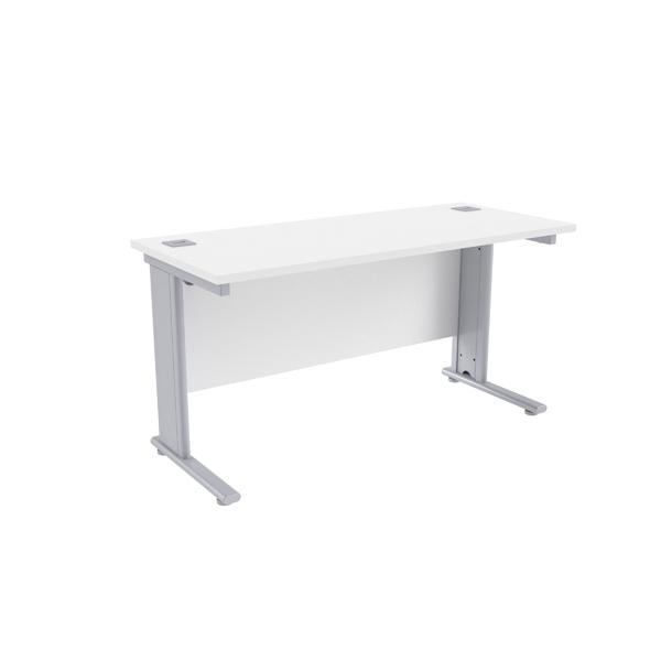 Jemini White/Silver 1400 x 600mm Cantilever Rectangular Desk