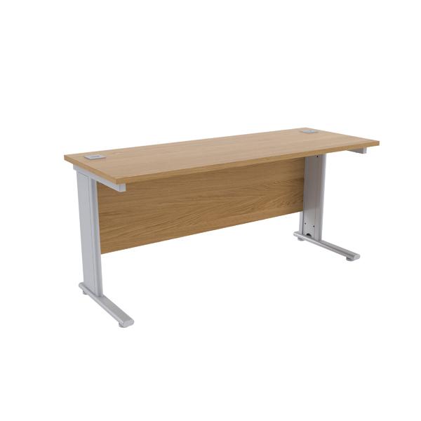 Jemini Oak/Silver 1600 x 600mm Cantilever Rectangular Desk
