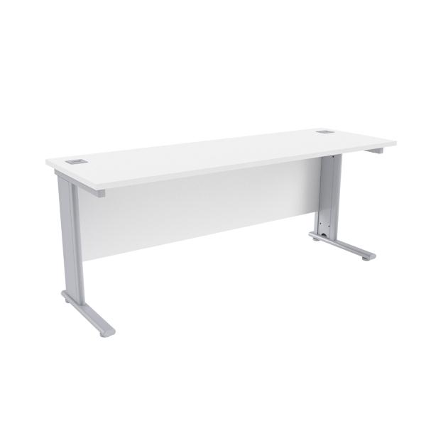 Jemini White/Silver 1800 x 600mm Cantilever Rectangular Desk