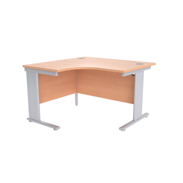 Jemini Beech/Silver 1200mm Left Hand Radial Cantilever Desk