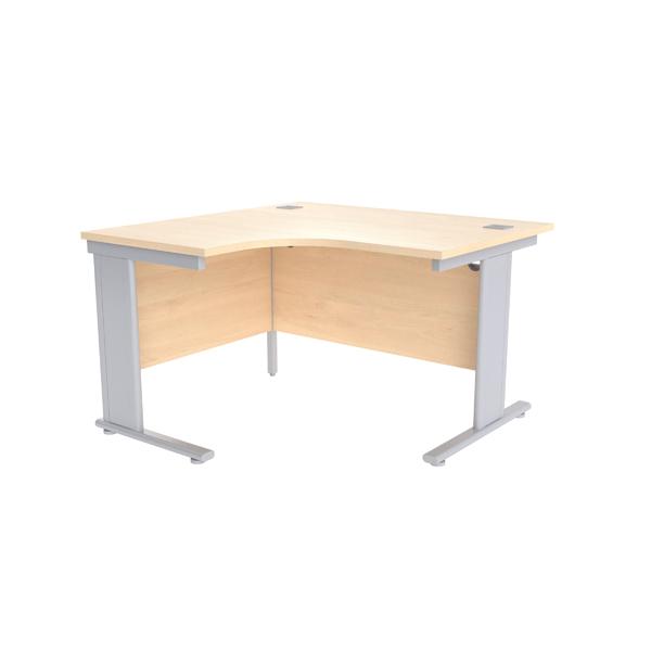 Jemini Maple/Silver 1200mm Left Hand Radial Cantilever Desk