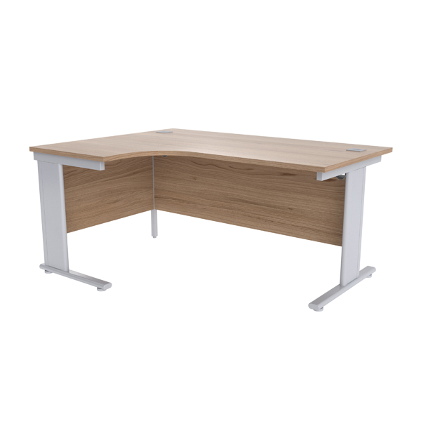 Jemini Grey Oak/Silver 1600mm Left Hand Radial Cantilever Desk