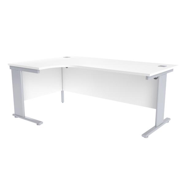Jemini White/Silver 1800mm Left Hand Radial Cantilever Desk