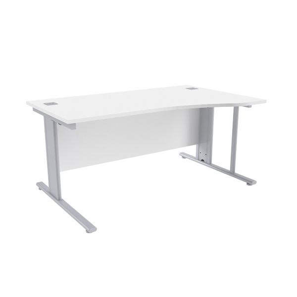Jemini White/Silver 1600mm Right Hand Cantilever Wave Desk