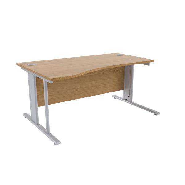 Jemini Oak/Silver 1600mm Left Hand Cantilever Wave Desk
