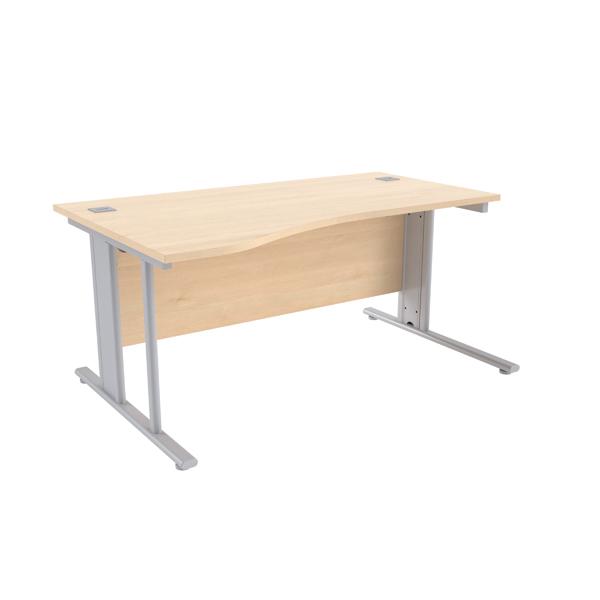 Jemini Maple/Silver 1600mm Left Hand Cantilever Wave Desk