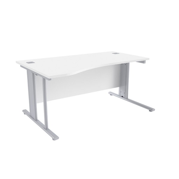 Jemini White/Silver 1600mm Left Hand Cantilever Wave Desk