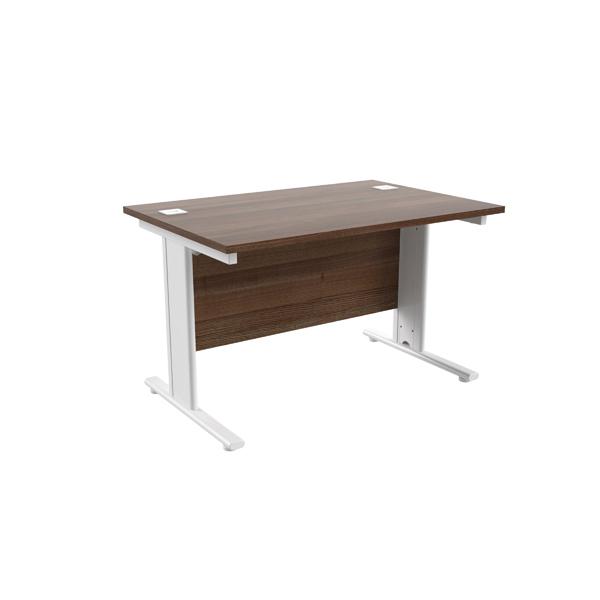 Jemini Walnut/White 1200 x 800mm Cantilever Rectangular Desk
