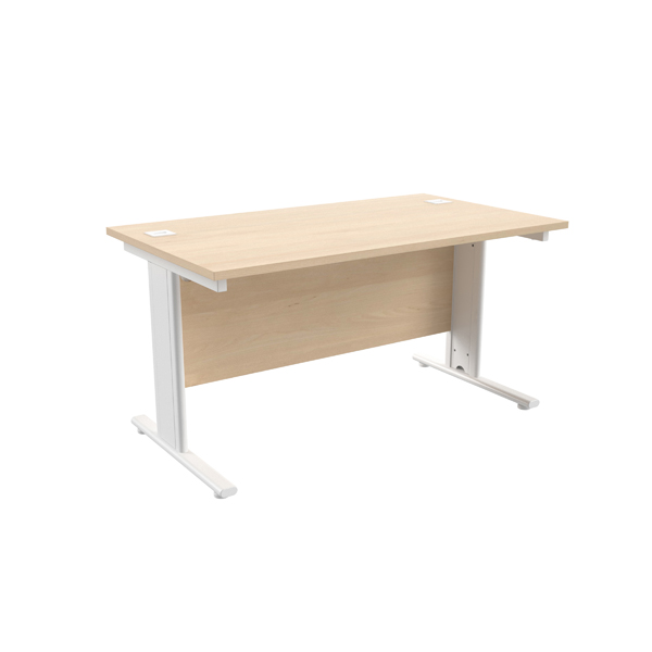 Jemini Maple/White 1400 x 800mm Cantilever Rectangular Desk