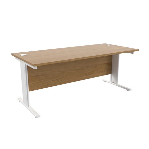 Jemini Oak/White 1800 x 800mm Cantilever Rectangular Desk