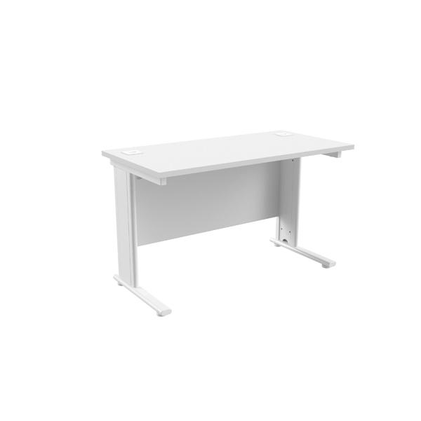 Jemini White/White 1200 x 600mm Cantilever Rectangular Desk
