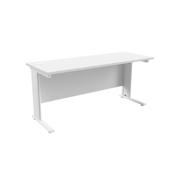 Jemini White/White 1600 x 600mm Cantilever Rectangular Desk