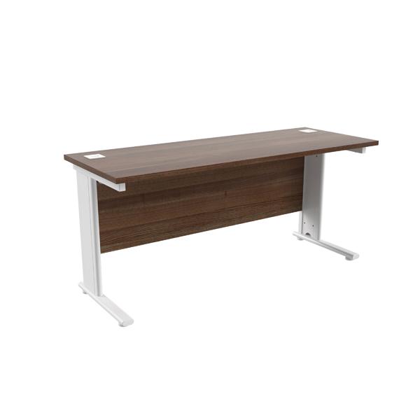 Jemini Walnut/White 1600 x 600mm Cantilever Rectangular Desk