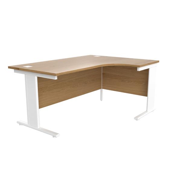 Jemini Oak/White 1600mm Right Hand Radial Cantilever Desk