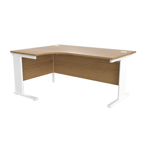 Jemini Oak/White 1600mm Left Hand Radial Cantilever Desk