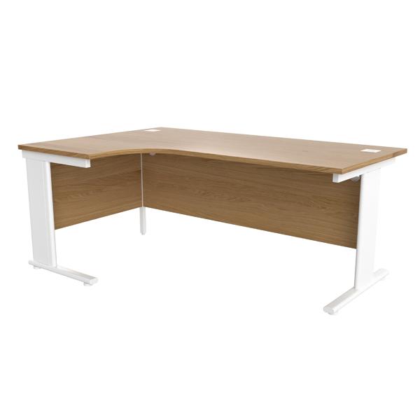 Jemini Oak/White 1800mm Left Hand Radial Cantilever Desk
