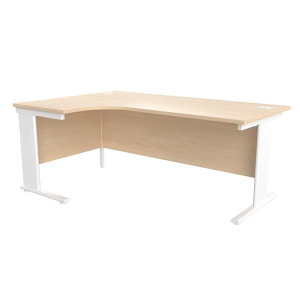 Jemini Maple/White 1800mm Left Hand Radial Cantilever Desk