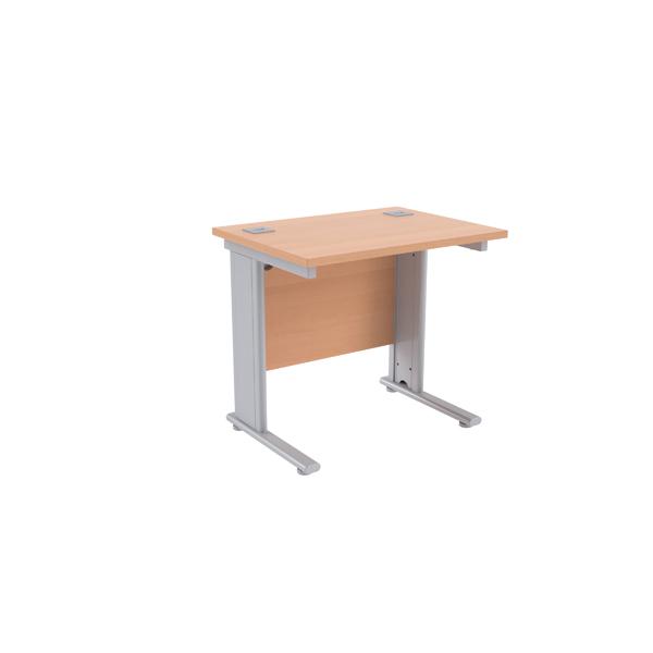 Jemini Beech/Silver 800mm Rectangular Desk