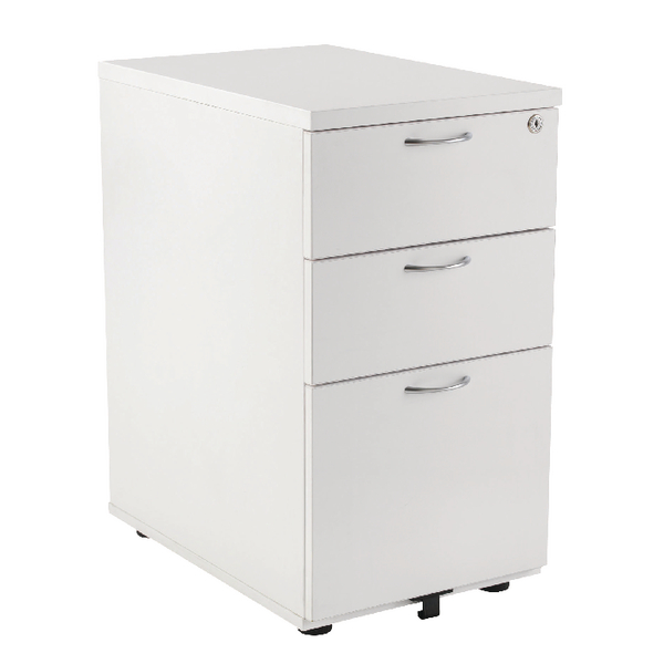 First Desk High Pedestal 3 Drawer 800mm Deep White