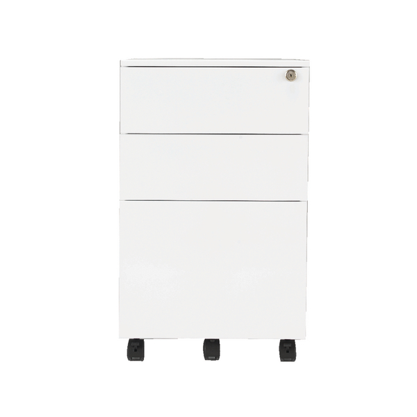 First Steel Under Desk Pedestal 3 Drawer White