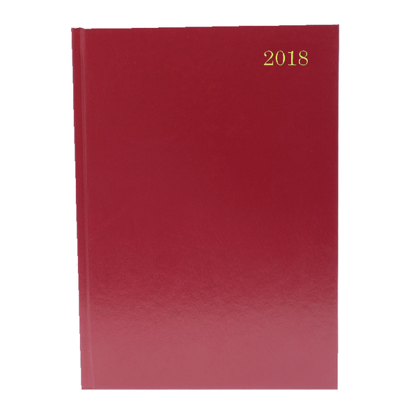 A4 Day/Page Appointments 2018 Burgundy Desk Diary