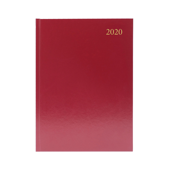 Desk Diary A4 Day Per Page Appointments 2020 Burgundy
