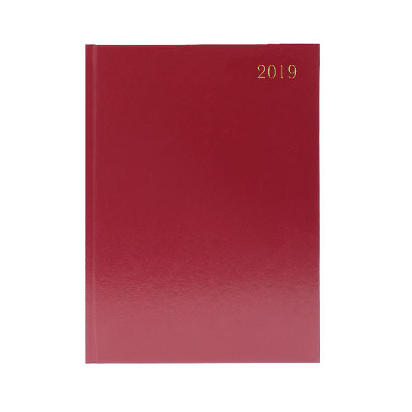 Burgundy Desk A4 Diary Day/Page 2019