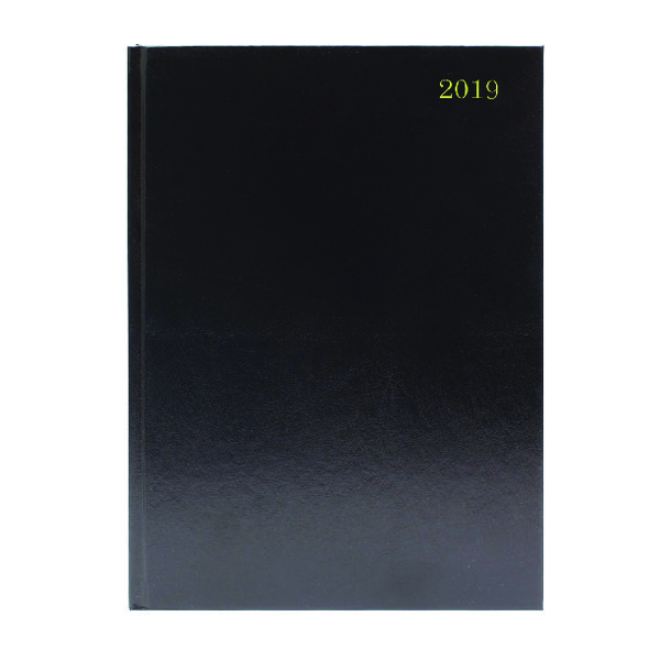 Black Desk A4 Diary Day/Page 2019