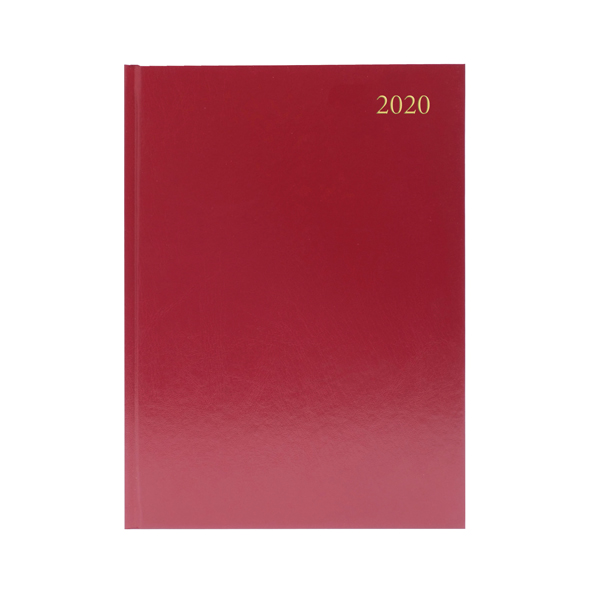 Desk Diary A4 Week to View 2020 Burgundy