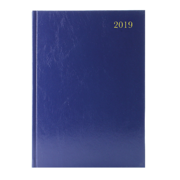 A4 Week to View 2019 Blue Desk Diary
