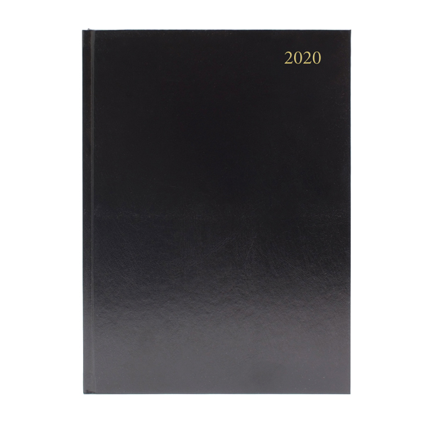 Desk Diary A5 Week to View 2020 Black (Reference calendar on each page)