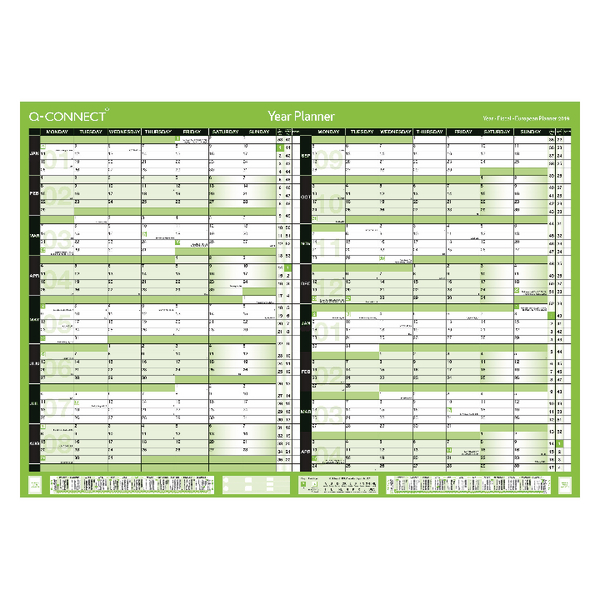 Q-Connect A1 Unmounted 16 Month Planner January 2019 - April 2020