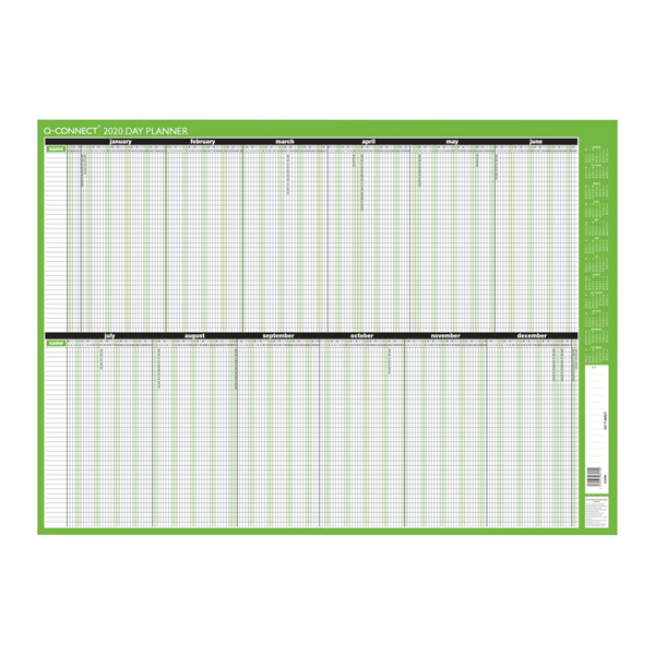 Q-Connect Day Planner Mounted 855 x 610mm 2020