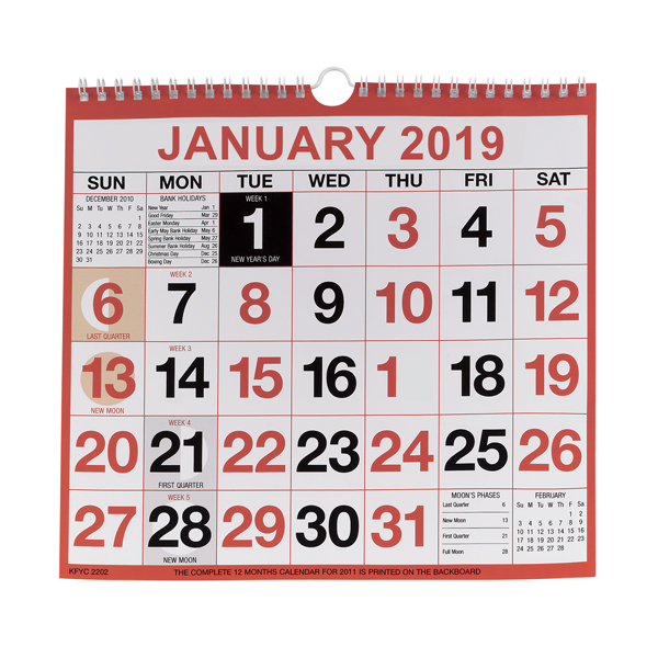 Wirebound Calendar 249x231mm 2019