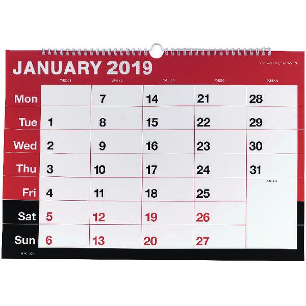 Wirebound A3 Monthly 2019 Calendar