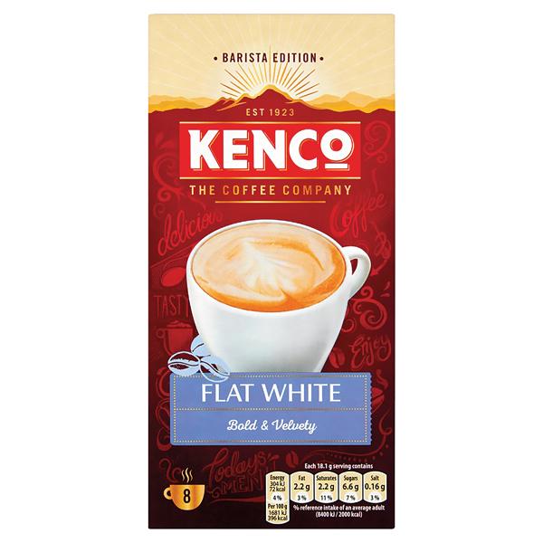 Kenco Flat White Instant Sachet (Pack of 8) 4041493