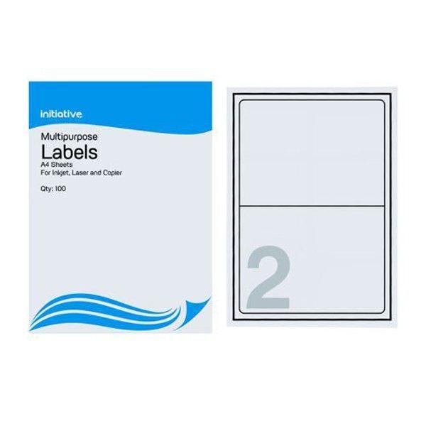 Initiative Multipurpose Labels 199.6 x 143.5mm 2 Per Sheet Pack 100