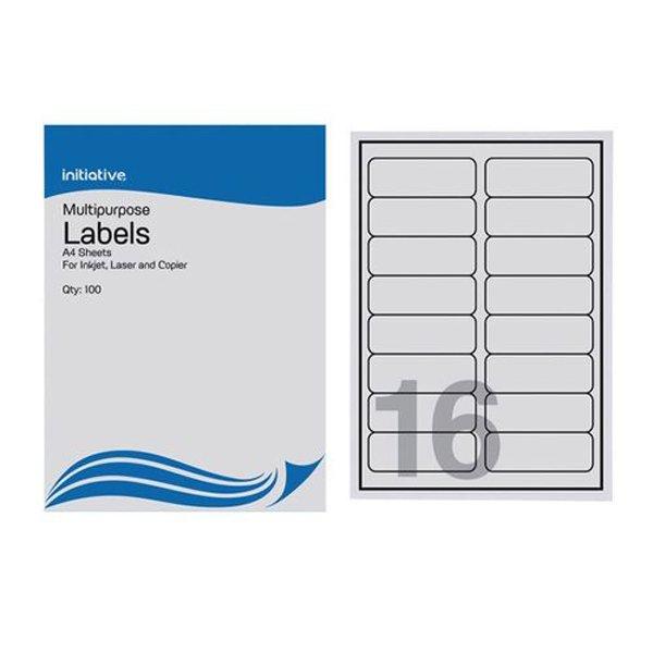 Initiative Multipurpose labels 99.1 x 33.9mm 16 per Sheet Pack 100