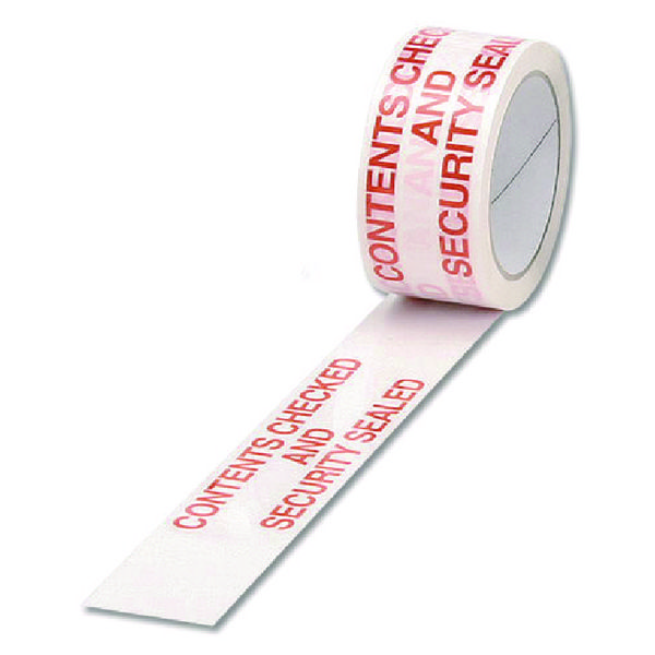 Polypropylene Tape Printed Contents Checked White/Red 50mmx66m PPPS-SECURITY
