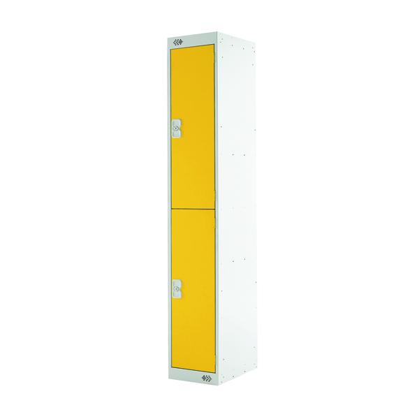 Two Compartment Locker D300mm Yellow Door MC00012