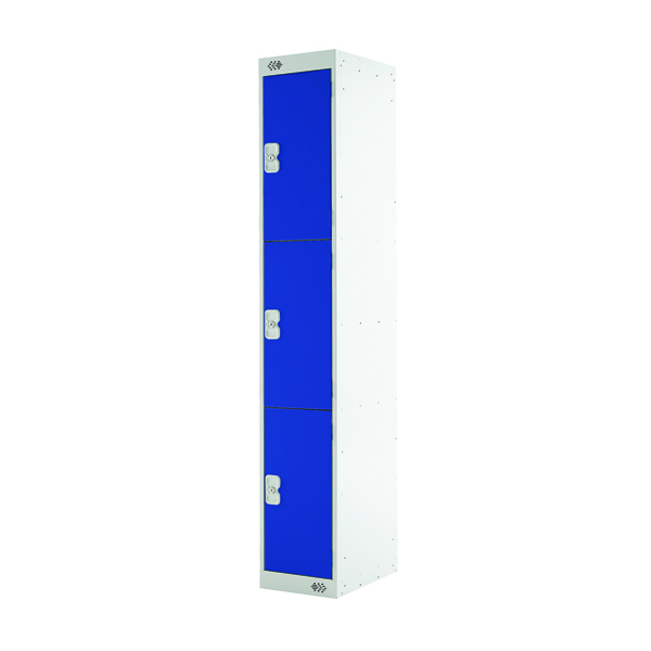Image for Blue Door 300mm Deep Three Compartment Locker